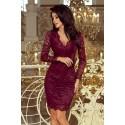 Luxusní dámské krajkové šaty Olivia bordó