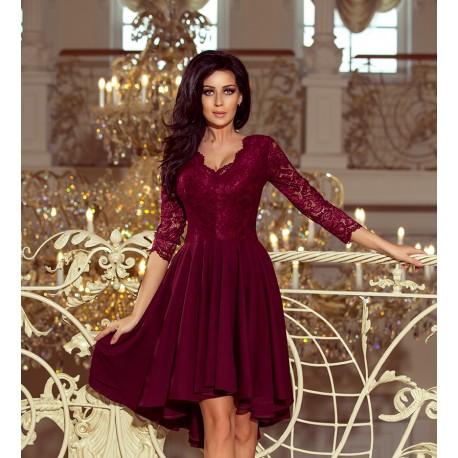 Luxusní dámské šaty Elegance bordó, Velikost S, Barva Bordó NUMOCO 210-1-1XL
