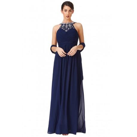 Dámské dlouhé šaty Sara modré 76b2689fbc