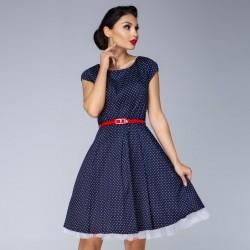 Tmavě modré šaty s drobným puntíkem