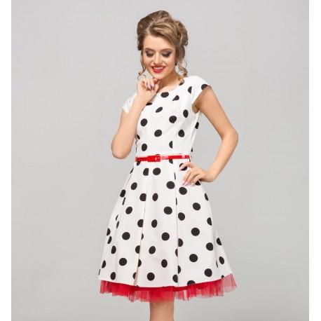 Dámské bílé šaty s puntíky