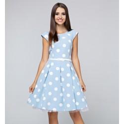 Dámské světle modré šaty s puntíky