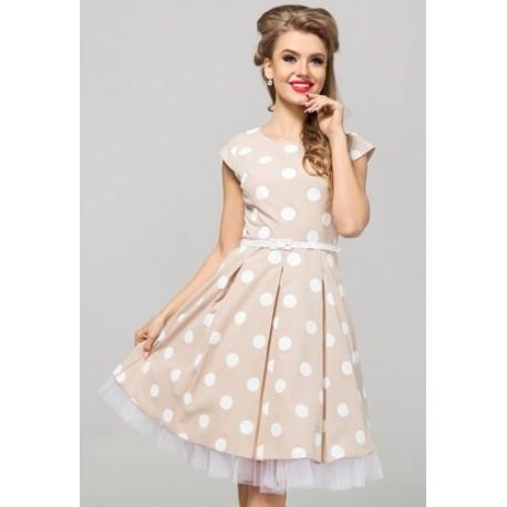 Kapučínové šaty s puntíky