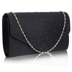 Dámské elegantní černé psaníčko zdobené kamínky