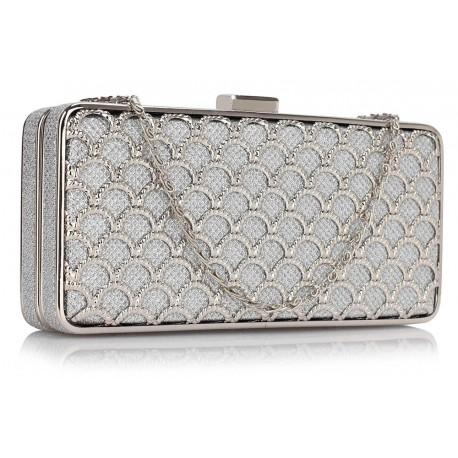 Dámské luxusní psaníčko Vintage AG, Barva Stříbrná L&S Fashion AG00308