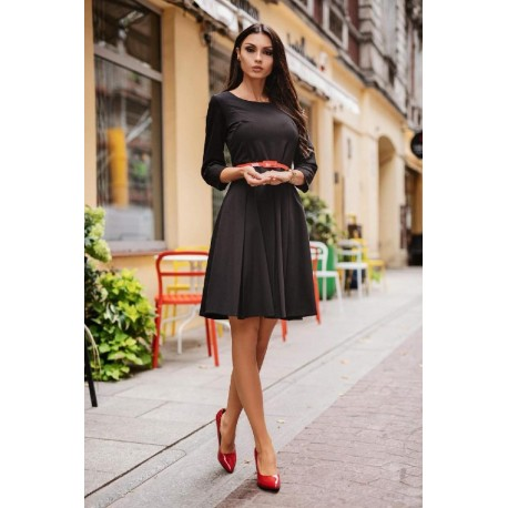 Šaty LOTTA s 3/4 rukávem černé