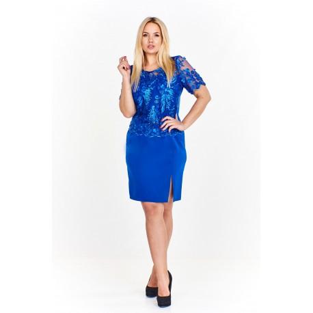 Dámské společenské šaty LISA - krajkové, Velikost 42, Barva Modrá MONARISS M57994