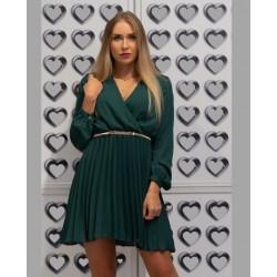 Šifonové šaty s plisovanou sukní zelené