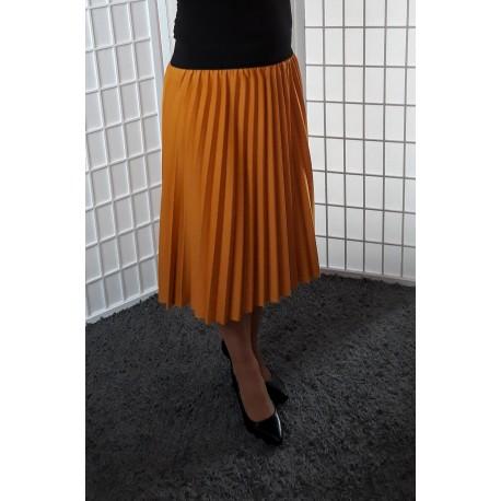 Plisovaná sukně – hořčicová 0169