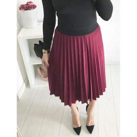 Plisovaná sukně – vínová 0228
