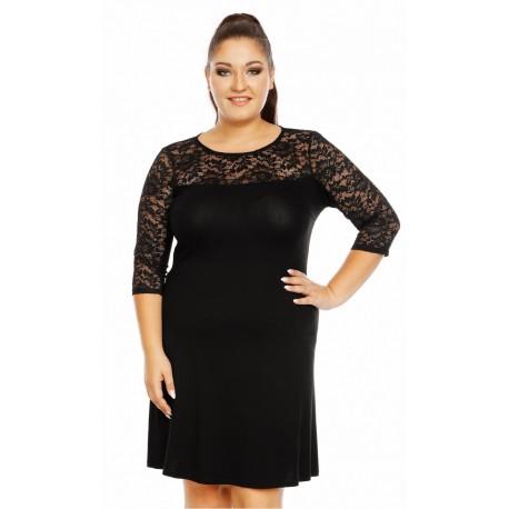 Dámské šaty Karolina s 3-4 rukávem a krajkou černé