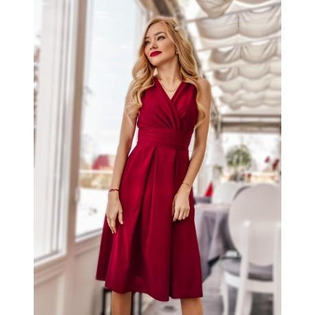 Krásné dámské šaty šifonové bez rukávu bordó