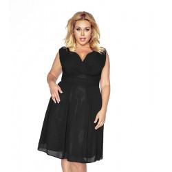 Krásné dámské šaty šifonové bez rukávu černé 1171