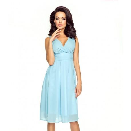 Krásné dámské šaty šifonové bez rukávu sv. modré