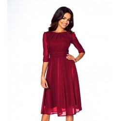 Elegantní šifonové šaty s 3/4 rukávem vínové 214