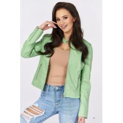 Dámská bunda z ekokůže zelenkavá