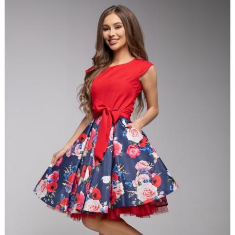 Šaty Gotta červené s květy