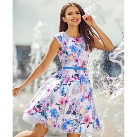 Dámské šaty CHANTAL s květy II., Velikost 38, Barva Barevná Gotta GS90