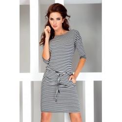 Dámské sportovní šaty se zavaz. tkanicí a kapsami v námořnickém stylu šedé