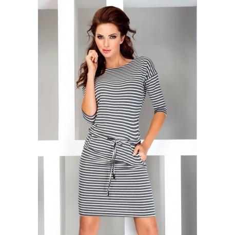 Dámské sportovní šaty se zavaz. tkanicí a kapsami v námořnickém stylu šedé, Velikost XL, Barva Šedá NUMOCO 13-11