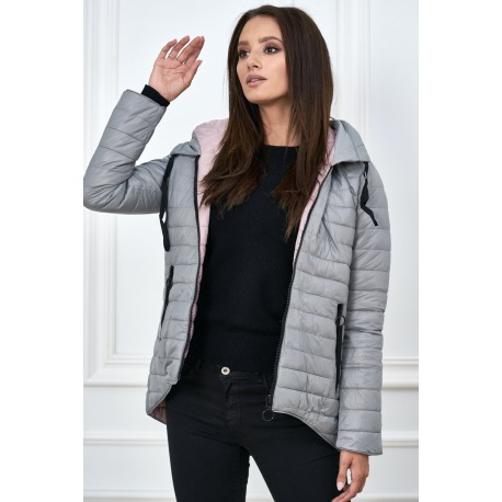 Dámská bunda 2v1 šedo-růžová