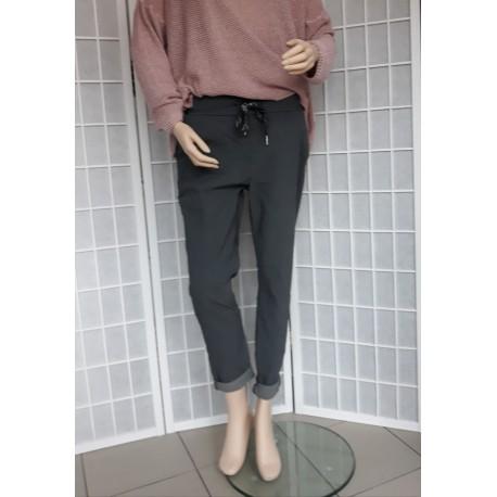 Dámské tm. šedé trendy kalhoty