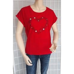 Dámské bavlněné tričko SRDCE červené