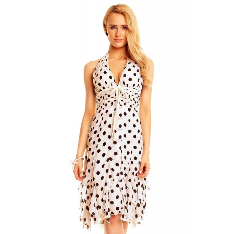 Dámské společenské šaty bez rukávu Michele bílé, Velikost S, Barva Bílá