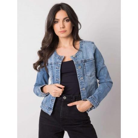 Dámská džínová bunda bez límečku