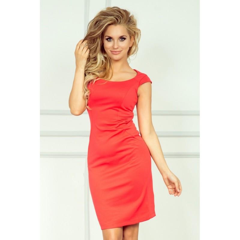 Dámské elegantní společenské šaty bez rukávu korálové, Velikost S, Barva Korálová