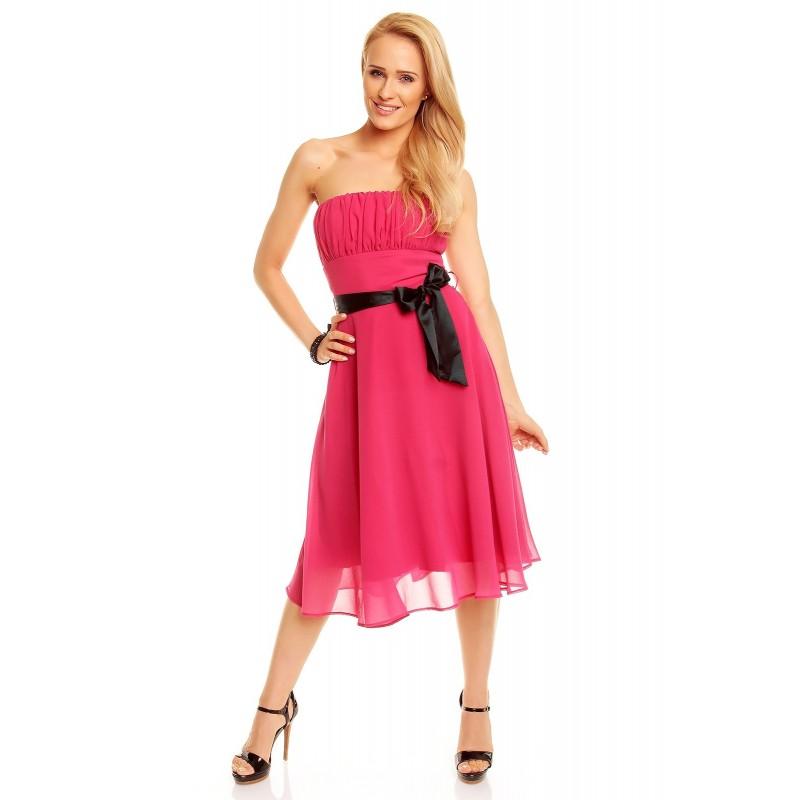 Dámské společenské a plesové šaty bez ramínek malinové, Velikost M, Barva Malinová