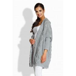 Kardigan zdobený pleteným vzorem šedý