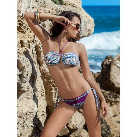 Dámské plavky dvoudílné Mila fialové se vzorem, Velikost S, Barva Fialová Madora