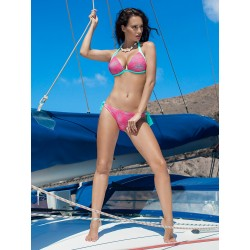 Dámské plavky dvoudílné Sonia světle zelené s růžovou síťkou