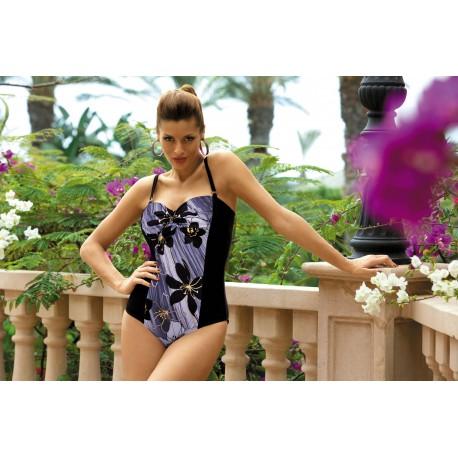 Dámské plavky jednodílné Monaco modro-černé, Velikost XL, Barva Tmavě modrá Marko