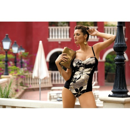 Dámské plavky jednodílné Monaco černo-olivové, Velikost XL, Barva Černá Marko