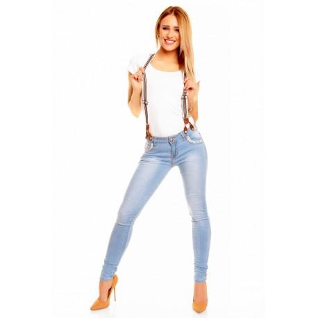 Dámské módní džíny s kšandami světle modré