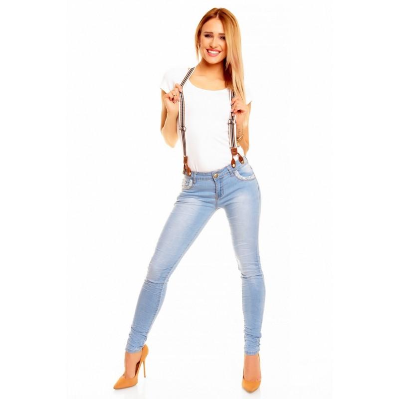 Dámské módní džíny s kšandami světle modré, Velikost M, Barva Světle modrá